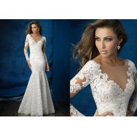 Buy cheap Mermaid Long Sleeved Sheath Wedding Dress , Appliques V Neck Sheath Wedding Gown from wholesalers