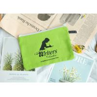 Buy cheap Green Canvas Pencil Bag 12 x 9 cm Customized Size With White Plastic Zipper from wholesalers