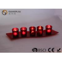 Wholesale Set Of 5 Red Glass Candle Holder With Glass Plate And LED Tealight from china suppliers