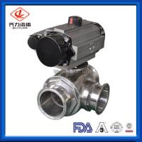 Buy cheap Clamped 3 Way Sanitary Ball Valve High Flow Ability Pneumatic Ball Valves from wholesalers