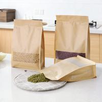 Buy cheap Wholesale Food Packaging Recycled Zip Top Brown Craft Paper Bag With Window from wholesalers