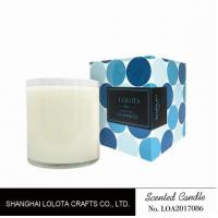 Scented white bottle soy wax candle with blue color folding box
