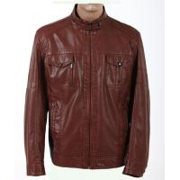 Trendy and Dark Red / Yellow Young Mens Designer Leather Jackets with Two side Pockets Manufactures