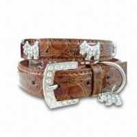 Wholesale Faux Leather Dog Collar, Features Shining Rhinestone Buckle Closure and Adorable Dogs Trimming from china suppliers