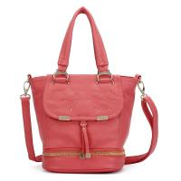 China Red / Pink Trendy Womens Pu Leather Handbag With Studs , Lady Hand Bags on sale