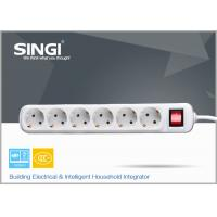Buy cheap 250V 10A Extension cord power strip , 6 outlet power bar / strips from wholesalers