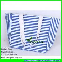 Buy cheap LDFB-015 striped canvas totes white cotton braid handles beach canvas bag from wholesalers
