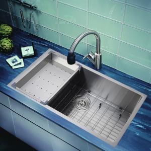 Wholesale drop-in overmount topmount single bowl inox 304 handmade custom size 18 gauge  sink from china suppliers