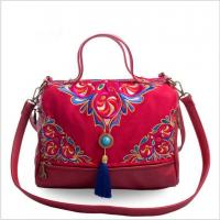 Buy cheap Large capacity Embroidery Jean women handbag messenger bag lady outside good choice factory sale from wholesalers