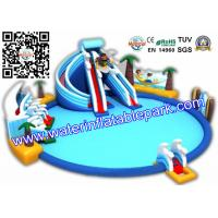 Inflatable Giant  Water Park Double  Slide For Kids , Resorts With Water Slides Manufactures