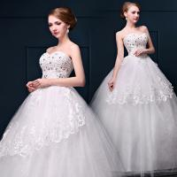 Buy cheap Beaded Princess Waist Bra Lace Flower Shoulder Wedding Dress Wholesale Bride Wedding Dress from wholesalers