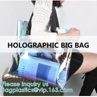 Buy cheap Neon Rainbow Hologram PVC Tote Bag custom holographic handbag PVC handle beach from wholesalers