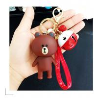 Cartoon cute lovely bear bunny couple keychain female creative bell leather rope pendant wholesale baby gift Manufactures
