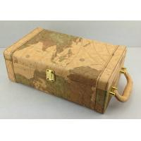 Wholesale Graphic Earth Map 2 Bottles Custom Wine Box PU Leather Coated from china suppliers