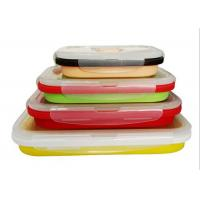 Quality Four Unity Silicone Folding Students Microwave Lunch Box Food Grade FDA Silicone + PP for sale