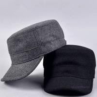 Buy cheap Curved Visor Adult Wool Cotton Quality Mens Military Army Winter Warm Metal Strap Flat Top Hat Cap from wholesalers