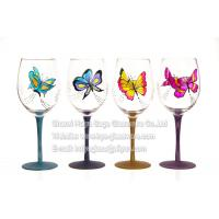 Buy cheap Hand painted butterfly red wine glasses, shining powder,glitter stem from wholesalers