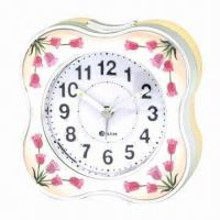 Buy cheap Table/desk alarm clock with melody alarm and LED flashing light in flower shape, plastic case from wholesalers