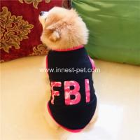 Wholesale factory designer new clothes FBI printing black dog summer tshirt, cotton pet apparel from china suppliers