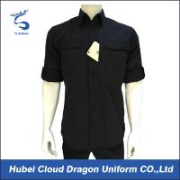 Buy cheap Quick Dry Black Men's Military Shirt , Short Sleeve Work Shirts For Outdoor Hunting from wholesalers