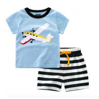 Buy cheap Summer print short sleeve t shirt sets cotton baby boys clothes from wholesalers