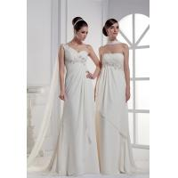 One shoulder beaded chiffon wedding dress Manufactures