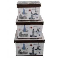 Buy cheap Handmade Paris Floral Design Wooden Storage Boxes , MDF + Printed Canvas / Grossy Lamination from wholesalers