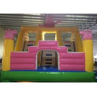 Wholesale Peppa Pig 3 Lane Inflatable Dry Slide Kids Jumping Bouncer Slide with Eva Ladder from china suppliers