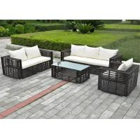 China Outdoor Sofa Furniture Wood Grain Finished Aluminum Wicker Sofa Rattan Garden on sale