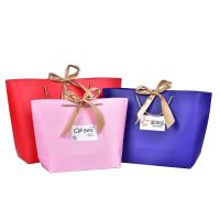 Wholesale Luxury Handbag Logo Printed Paper Shopping Bags Gift With Skin Ribbon from china suppliers