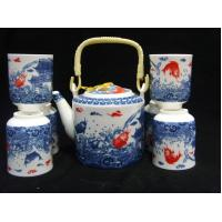 Buy cheap Durable Traditional Chinese Porcelain Tea Sets Golden Fishes Design For Dinnerware from wholesalers