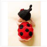Wholesale flower red black ladybug cartoon baby hat cap cotton handmade Baby Photography Props set from china suppliers