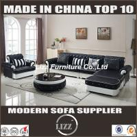 China Popular new design living room L shape sofa furniture with black color pure leather(LZ-069) on sale