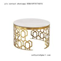 Buy cheap New classical Hotel marble table bronze color stainless steel hollowed out design from wholesalers