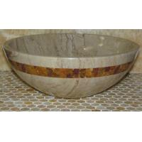 Buy cheap Sahara Beige Marble Kitchen Bathroom Sinks With Multi Red Onyx Mosaic Inlay from wholesalers