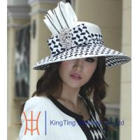 Satin Ribbon Braid Dressy Church Hats with A Class Chain Stones , Polyester Fabric Blocked Ladies Church Hats Manufactures