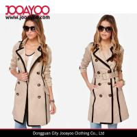 Buy cheap Women Autumn & Winter Wear Wide lapel Double-breasted Black and Beige Trench Coat from wholesalers