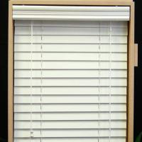 Buy cheap 64mm pvc foamwood venetian blinds with steel high headrail and pvc foamwood bottomrail from wholesalers