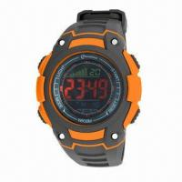 Buy cheap PU plastic fashionable watch for gents, as sports watch or leisure watch with chime, daily alarm from wholesalers