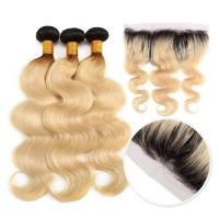 Buy cheap 10A Grade 100% Peruvian Ombre Human Hair Extensions 1B / 613 Blonde Color product