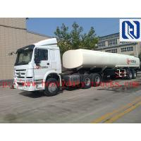 Buy cheap Q345MATERIAL 45 M3 Three Axles Oil Tank Small Semi Trailer Trucks Yellow And White Color WITH fuwa axle and tirange tire from wholesalers