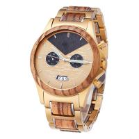 Buy cheap Zebra Wooden Wrist Watch Minimalist Design With Gold Plated Steel Wood Band from wholesalers