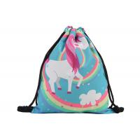 Buy cheap Stock 39 * 30cm  Custom Drawstring Bags With Logo Cute Polyester Material from wholesalers