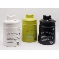 Buy cheap Ceramic Personalized Dog Treat Jar , Pet Food Canister With Decal Silicone Sealed from wholesalers