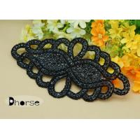 Quality Handemade Black Rhinestone Beaded Applique For Wedding Dresses for sale