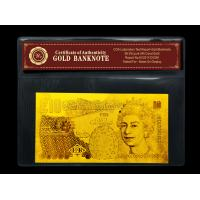 Pure 99.9% 24k Gold Banknote £10 Pound Banknote,Include Certificate Great Gift Manufactures