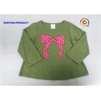 Buy cheap Knot Bow Applique Top Long Sleeve Crew Neck Baby Girl T Shirt from wholesalers