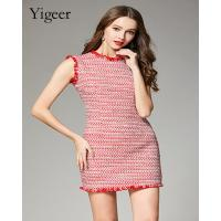 Buy cheap Sleeveless Fringed Red Tweed Mini Dress from wholesalers
