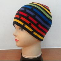Buy cheap Acrylic yarns knitting beanies hat with stripes, with stars from wholesalers