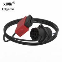 China Red Automotive Wiring Harness J1939 9 Pin Deutsch To Obd2 Cable For Truck on sale